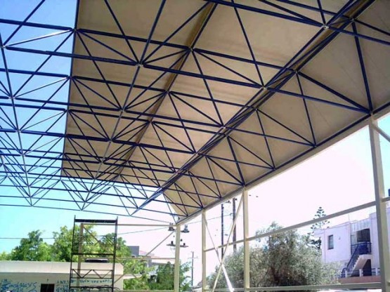 Space frame construction for an indoor court in Chios