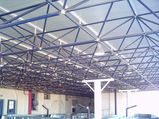 Santorini airport space frame structure by Nilka System