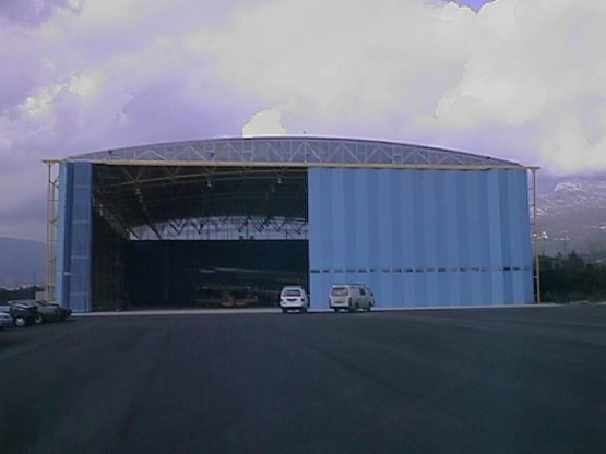 Space frame hangar for airplane collection with folding doors and long span